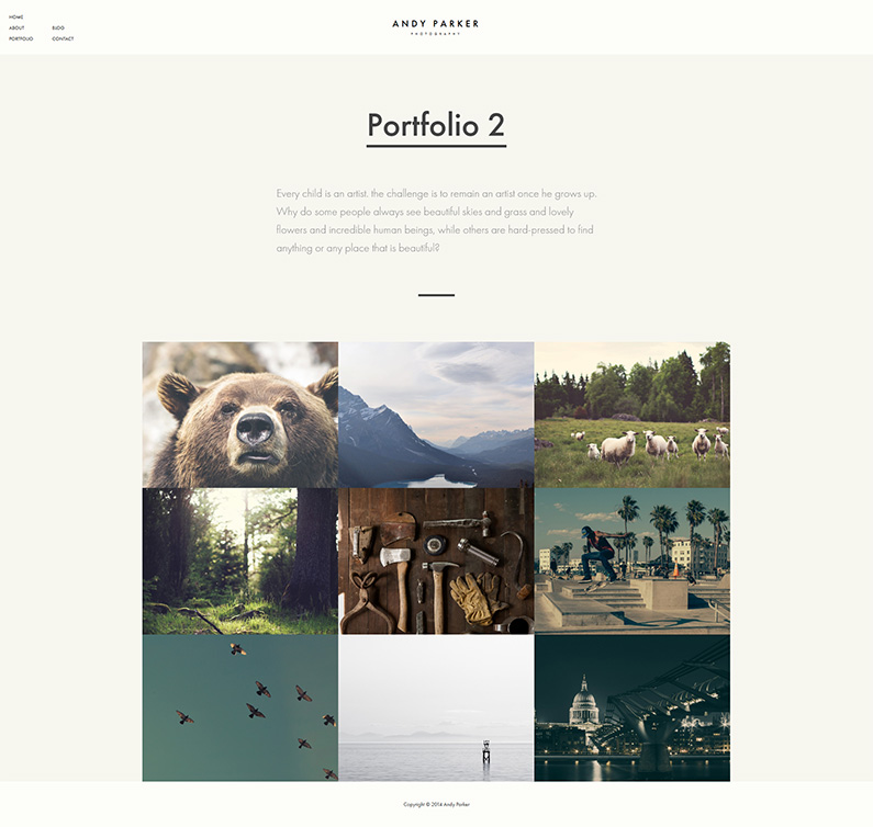 WordPress theme for photographers - Andy Parker Theme