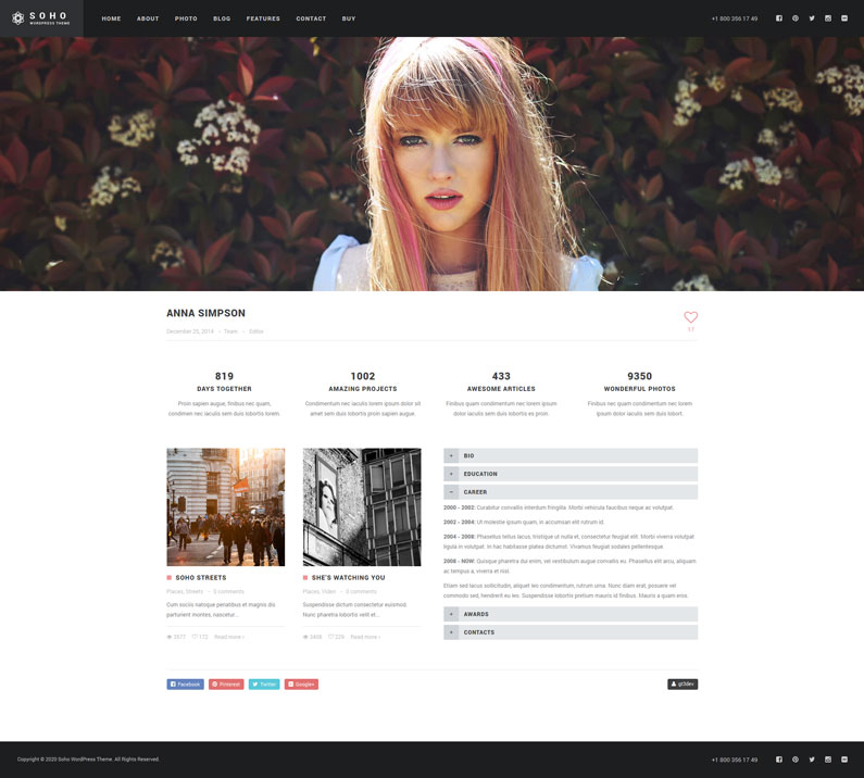 SOHO is a new WordPress theme for photographers